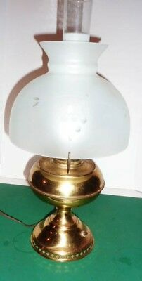 Brass Miller oil (elect) Lamp acid etched shade