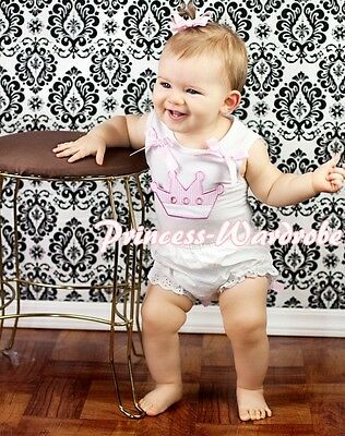 """Newborn Baby White Tank Top """"Princess"""" with Pink Dots and Bloomer 2PC Set 3-12m"""