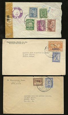 ECUADOR 1936-43 MULTIFRANKINGS AIRS  + CENSORS to USA...13 stamps on 5 COVERS