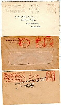 1938/40  3 x KEVIII METER MARK ADVERTISING SMALL COVERS EX LONDON & LEEDS