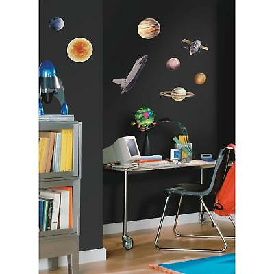 24 New Outer Space Wall Decals Planets Sun Stars Rocketship Stickers Decor