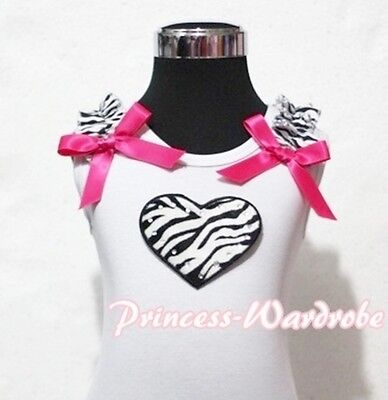 Valentine White Pettitop Top with Zebra Ruffle Heart Hot Pink Bow 4 Skirt NB-8Y