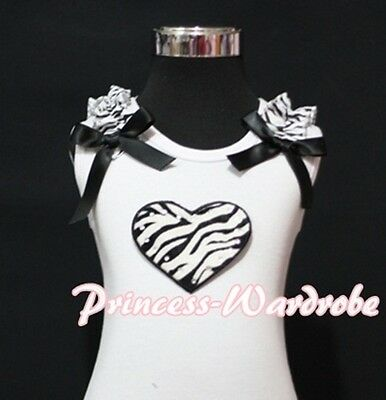 Valentine White Pettitop Top with Zebra Ruffle Heart Black Bow For Skirt NB-8Y
