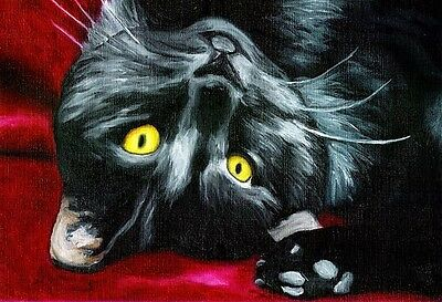 13x19 CAT Black DSH Domestic Shorthair Signed Art PRINT of Painting by VERN