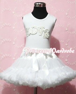 White Pettitop Top in LOVE Printing with Pure White Pettiskirt Set For Girl 1-8Y