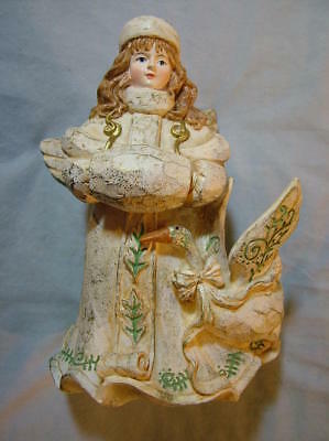 Carved Wood Look Rustic Angel Christmas Decoration