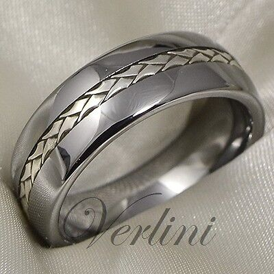 3 Of 6 Tungsten Ring Silver Inlay Men S Wedding Band Anium Color Size 13