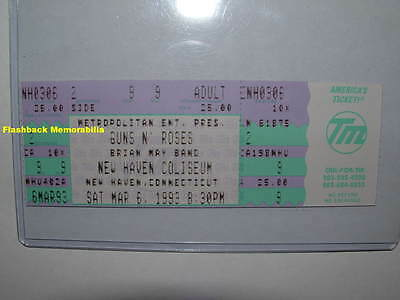 GUNS N' ROSES / BRIAN MAY Unused MINT Concert Ticket 1993 NEW HAVEN Rare QUEEN