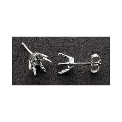 1 Pair ( 3mm - 8mm) Round 6-Prong Solid Sterling Silver Earring Settings