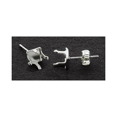 (4mm - 6mm) Solid Sterling Silver Snap-tite Square Earring Settings