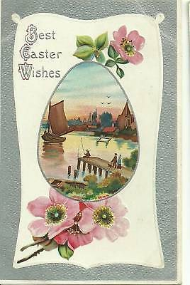 Pink Flowers Sailboat Fishing Dog Easter Postcard