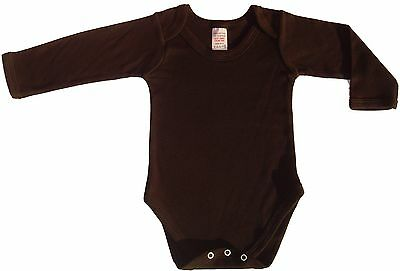 New Plain Black Combed Cotton Long Sleeve Baby Body Suits Made by Us In the UK