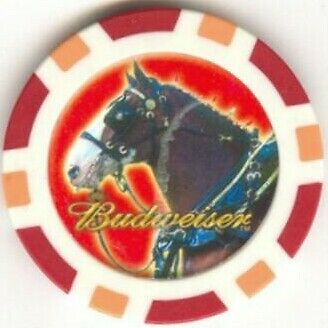 3 pc Budweiser Clydesdales poker chips sample set #171