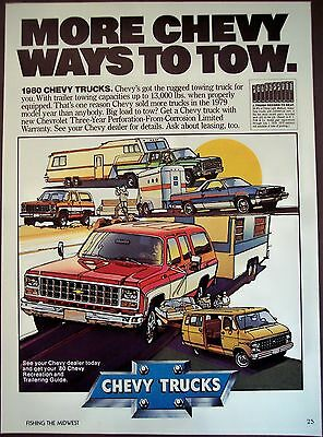 Chevy Trucks towing capacities original vintage 1980 Ad