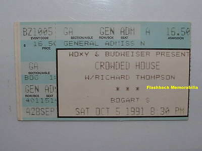 CROWDED HOUSE / RICHARD THOMPSON 1991 Concert Ticket Stub BOGART'S Long Beach CA