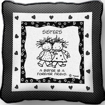 A Sister is a Forever Friend by Marci Art Tapestry Pillow Jacquard Woven Cotton