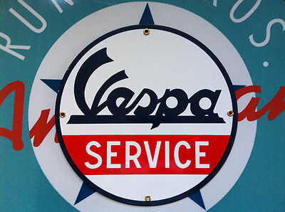 VESPA SERVICE -  PORCELAIN COATED METAL SIGN - SHIPPING DISCOUNTS