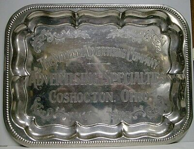 Vintage The Novelty Advertising Co. Chrome Tray - Coshocton, OH