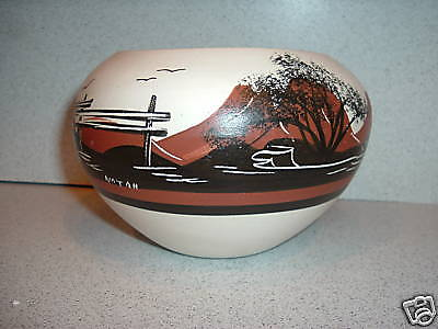 Southwestern Design Etched Painted POT BOWL by Juan Redeye