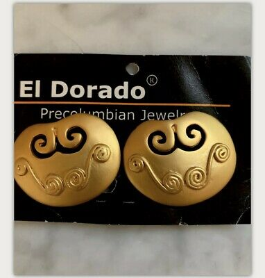 Precolumbian 24K gold plated PECTORAL with spirals earrings ,  NEW