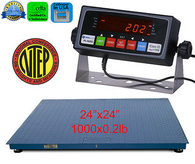 New NTEP 1000lb/0.2lb 2'x2' Heavy Duty Floor Scale w/ PS-IN202 Indicator