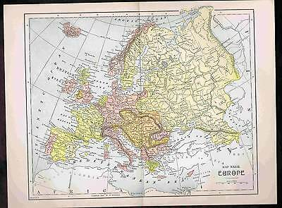EUROPE ANTIQUE COLOR MAP 1899 Century+ Old