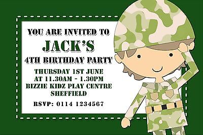 10 Personalised Birthday Party Invitations Army Soldier A91