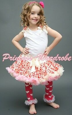 Cream Pink Sweet Heart Pettiskirt White Pettitop Red Hearts Ruffle Bows Set 1-8Y