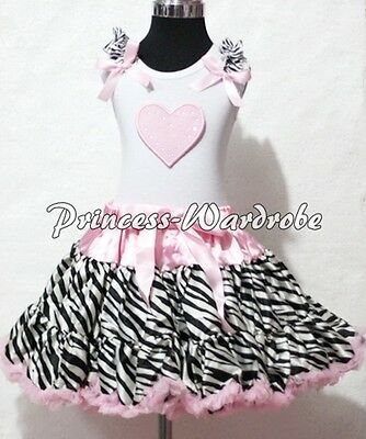 White Pettitop Top in Pink Ruffles Heart and Pink Zebra Pettiskirt Girl Set 1-8Y