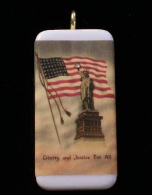 Patriotic Pendant - Liberty And Justice  For All - 4Th Of July Pendant With Box