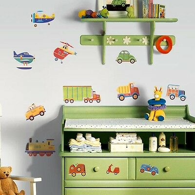 26 New CARS TRUCKS PLANES WALL DECALS Transportation Stickers Boys Room Decor