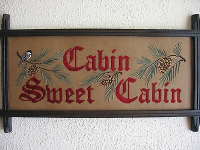 Victorian motto sampler, Cabin Sweet Cabin perforated paper Embroidery kit, new