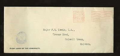 GB KG6 1937 OFFICIAL PAID MACHINE...FIRST LORD of ADMIRALTY ENVELOPE WHITEHALL