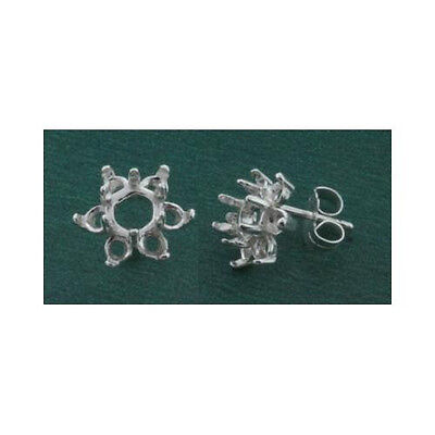 5mm Round Cluster Solid Sterling Silver Cast Earring Settings