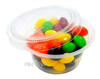 2 oz Plastic Soufflé Portion Cups - (200 Containers and 200 Lids) - 2 Ounce Size