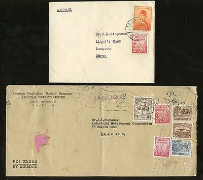 INDONESIA 1955-6 MULTI FRANKINGS...2 COVERS to Rangoon