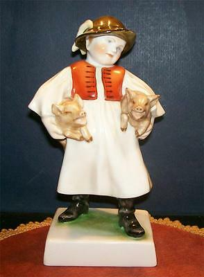 Herend Boy Figurine with Pigs Dated 1940