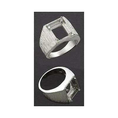 10x8mm Emerald Cut 4-Accents Sterling Cast Ring Setting Ring Sizes 5,6,7,8