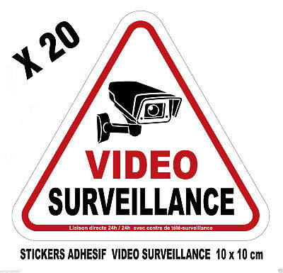 Lot de 20 adhesifs stickers autocollants pour ALARME Attention surveillance