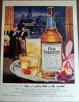 1951 Old Forester Bourbon Whisky skyscrapers in background vintage ad