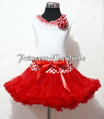 Minnie Waist Red Pettiskirt White Pettitop Top in White Red Dots Lacing Set 1-8Y