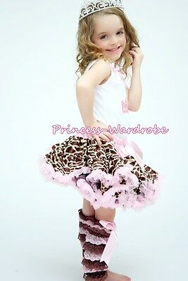 Baby Girl Brown Pink Lace Leg Warmer Stocking Accessory For Pettiskirt 2-6Year