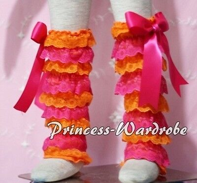 Baby Girl Hot Pink Orange Lace Leg Warmer Stocking Accessory For Pettiskirt 2-6Y