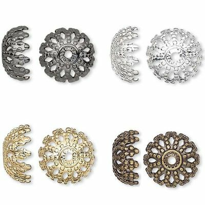 50 or 100 Silver, Gold Plated Brass 12mm Large Filigree Dome Bead Caps