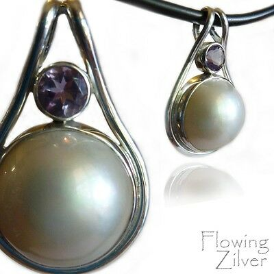 925 SOLID Sterling Silver Mabe Pearl Amethyst Necklace Pendant Retro Bali Gift