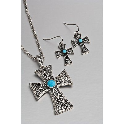 SET Jokara Cross Necklace & Earrings, Turquoise-Colored Stones, Christian Gift