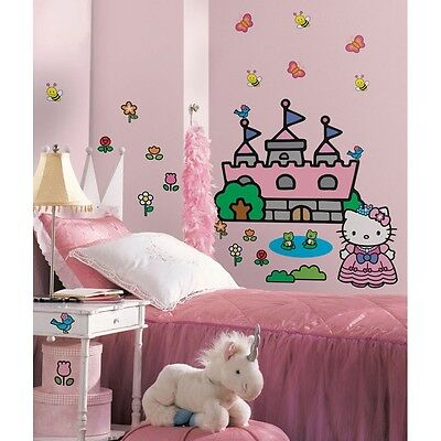 HELLO KITTY Princess CASTLE Giant Wall Mural Stickers NEW Room Decor Decals