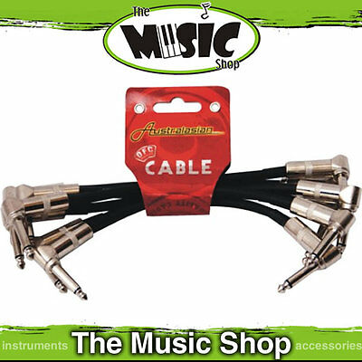 """Australasian 6 x 6"""" Right Angled Patch Leads - AMS 6 Inch Cable for Pedal Board"""