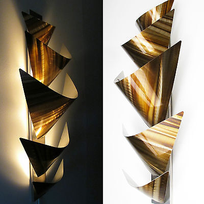 Modern Abstract Metal Wall Art Accent Lamp Painting Sculpture Home Decor Brown