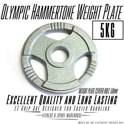5Kg Olympic Hammertone Weight Plate/Plates Easy Grip and Handling Home Fitness